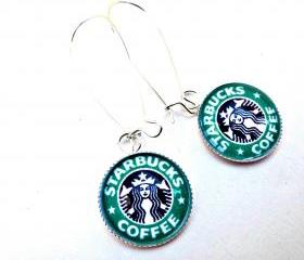 18 mm glass earrings. Starbucks glass earrings. Coffee. Mocha, latte. Green. Starbucks coffee. Sterling silver kidney ear wire.