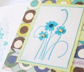 Flower Trio Thinking of You Greeting Card (Blank Inside) by The Leaf Studio. FREE shipping