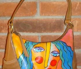 Hand Painted Handbag Purse Shoulder Bag with My Funky Abstract Portrait of a Woman