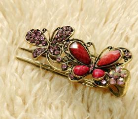 Pink Stones and Rhinestone Butterfly Claw Clips