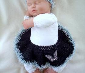 Black and Silver Butterfly baby girl tutu and headband set