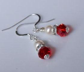 Red Bridesmaid Earrings, Red Crystal Earrings for Wedding or bridal party gift