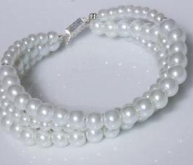 Pearl Jewelry - Bracelet - 3 Rows - Bridal and Wedding Bracelet