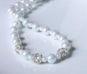 Pearl Necklace - Wedding, Bridal White Necklace accented with Rhinestone Fireballs