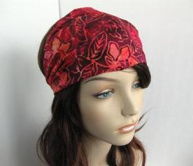 Flower Batik Fabric Headband Yoga Hair Head Wrap Women's Gypsy Bandana Pink Purple Orange Floral Cotton Print