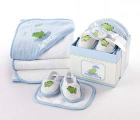 Personalized baby boy or girl towel Bathtime Four Piece Gift Set great for baby shower gift