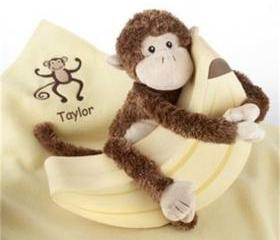 Personalized baby boy or baby girl embroidered blanket Plush Monkey & Blanket Gift