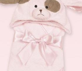 Personalized Baby Towel Puppy Dog Bath Towel Baby Girl ( Pink )