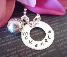 Personalized Hand Stamped Name Necklace-Baseball Charm