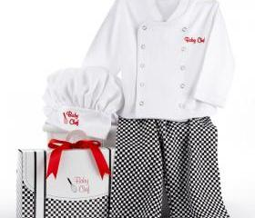 Personalized Baby boy or baby Girl Chef Three Piece Layette in Culinary Themed Gift Box