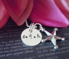 Hand Stamped Jewelry-Personalized Necklace-Mother Necklace-Silver Jewelry-Mothers Jewelry-Childrens Jewelry