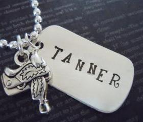 Western-Cowboy-Dog Tag-Hand Stamped Necklace-Mothers Necklace-Custom Jewelry-Saddle Charm