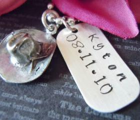 Western-Baby Boy Gift-Personalized Necklace-Hand Stamped Dog Tag-Childrens Jewelry-Cowboy Hat Charm