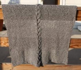 Custom Knit Baby Blanket - Soft gray cable warm
