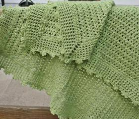 Custom Crochet Baby Blanket - green lightweight lacy