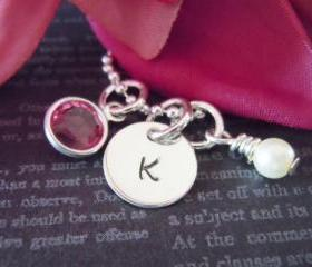 Charm Necklace-Personalized Flower Girl or Junior Bridesmaid Necklace-Flower Girl Gifts-Hand Stamped Jewelry-Pearl
