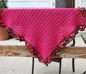 Crochet pink baby blanket shell border warm hot pink