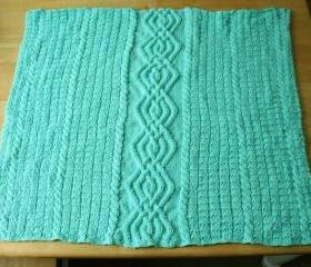 Knit baby blanket green cable afghan mint warm