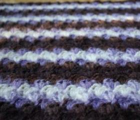 Crochet baby blanket purple brown white warm shell