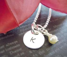 Personalized Hand Stamped Jewelry-Initial Necklace-Charm Necklace-Initial Jewelry-Swarovski Pearl