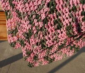 Crochet baby blanket camo pink green granny square