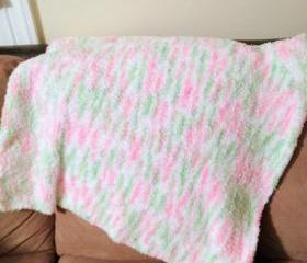 knit baby blanket - fleece - Handmade pink, green, white