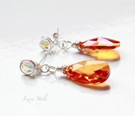 Sterling Silver drop Earrings, Swarovski Crystal Earrings, Wire wrapped Earrings, teardrop Earrings