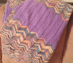 knit baby blanket - purple multi-color chevron ripple