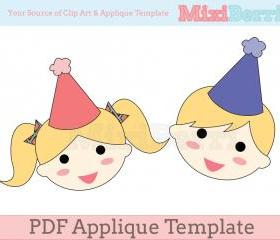 Birthday Girl & Boy Applique Template PDF