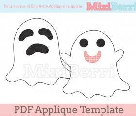 Happy & Sad Ghost PDF Applique Template - 2 Different Designs in 1 File
