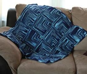 Knit baby blanket - unique - Handknit blue mitre square