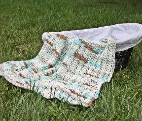 Crochet baby blanket lightweight blue brown white shell