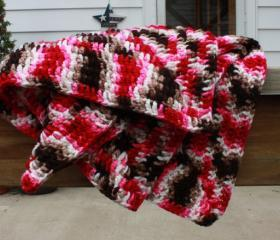 Crochet baby blanket - pink brown handmade granny square