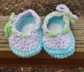 crochet baby booties shoes purple white blue green cotton