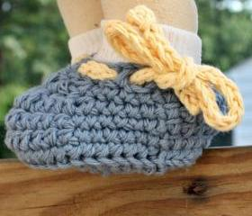 Crochet baby shoes booties - Blue yellow cotton custom