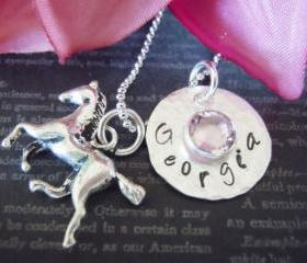 Cowgirl Necklace-Horse Charm-Hand Stamped Necklace-Cowgirl Necklace-Childrens Jewelry