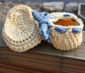 Crochet baby shoes booties - Yellow blue cotton custom