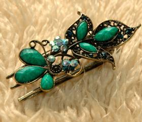Emerald Stones and Rhinestone Butterfly Claw Clips