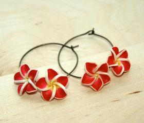 Frangipani / Plumeria / Kemboja FLower Earrings