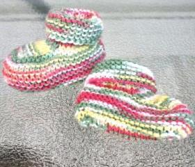 Knit baby booties shoes yellow green pink infant warm