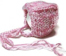 Knit baby hat bonnet pink white warm soft infant