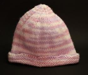 knit baby hat pink purple white infant warm cap