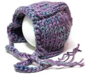 Knit baby bonnet hat purple warm winter infant
