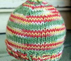 knit baby hat cap yellow green pink warm infant