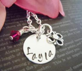 Personalized Childrens Necklace-Little Girls Hand Stamped Name Necklace-Swavorski Birthstone and Flower Charm