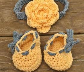 Baby shoes baby headband - yellow blue flower baby set