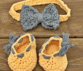 baby booties baby headband yellow blue baby set bow