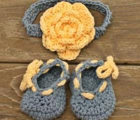 Baby booties Baby headband blue yellow baby set flower