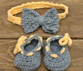 baby booties baby headband crochet blue yellow cotton set