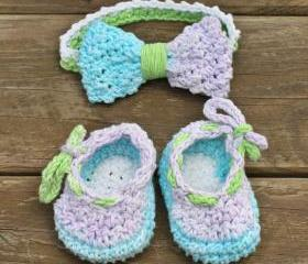 Baby booties baby headband set blue green purple cotton